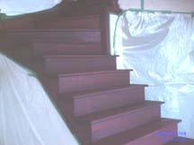 escalier mi teint acajou
