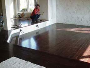 le plancher en bois franc du ler salon.